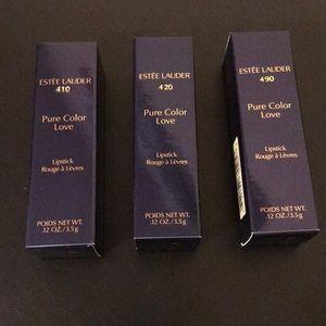 Three Estée Lauder pure color love lipstick